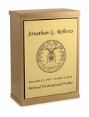 Air Force Sheet Bronze Overlap Top Niche Cremation Urn with Engraved Plate
