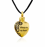 Always In My Heart Gold Stainless Steel Cremation Jewelry Pendant Necklace