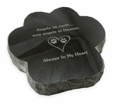 Always In My Heart Paw Print Laser-Engraved Pet Marker Black Granite Memorial