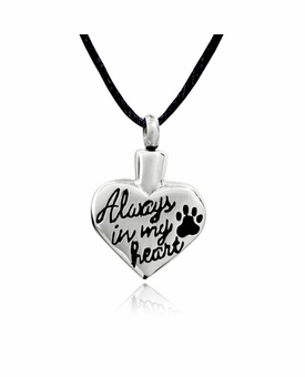 Always In My Heart Paw Print Stainless Steel Pet Cremation Jewelry Pendant Necklace