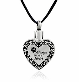 Always In My Heart Paw Print with Floral Border Stainless Steel Pet Cremation Jewelry Pendant Necklace