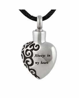 Always In My Heart Stainless Steel Cremation Jewelry Pendant Necklace