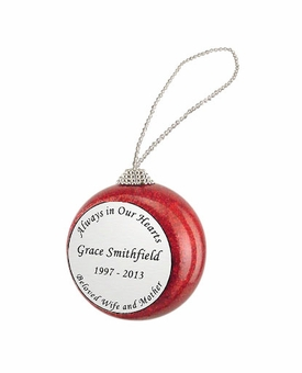 Always in Our Hearts Red Glitter Memorial Holiday Tree Ornament