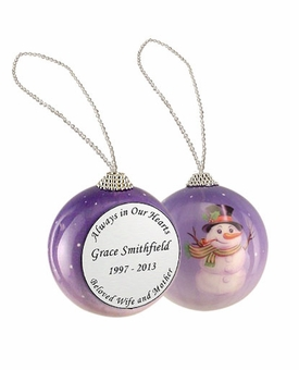 Always in Our Hearts Snowman Memorial Holiday Tree Ornament