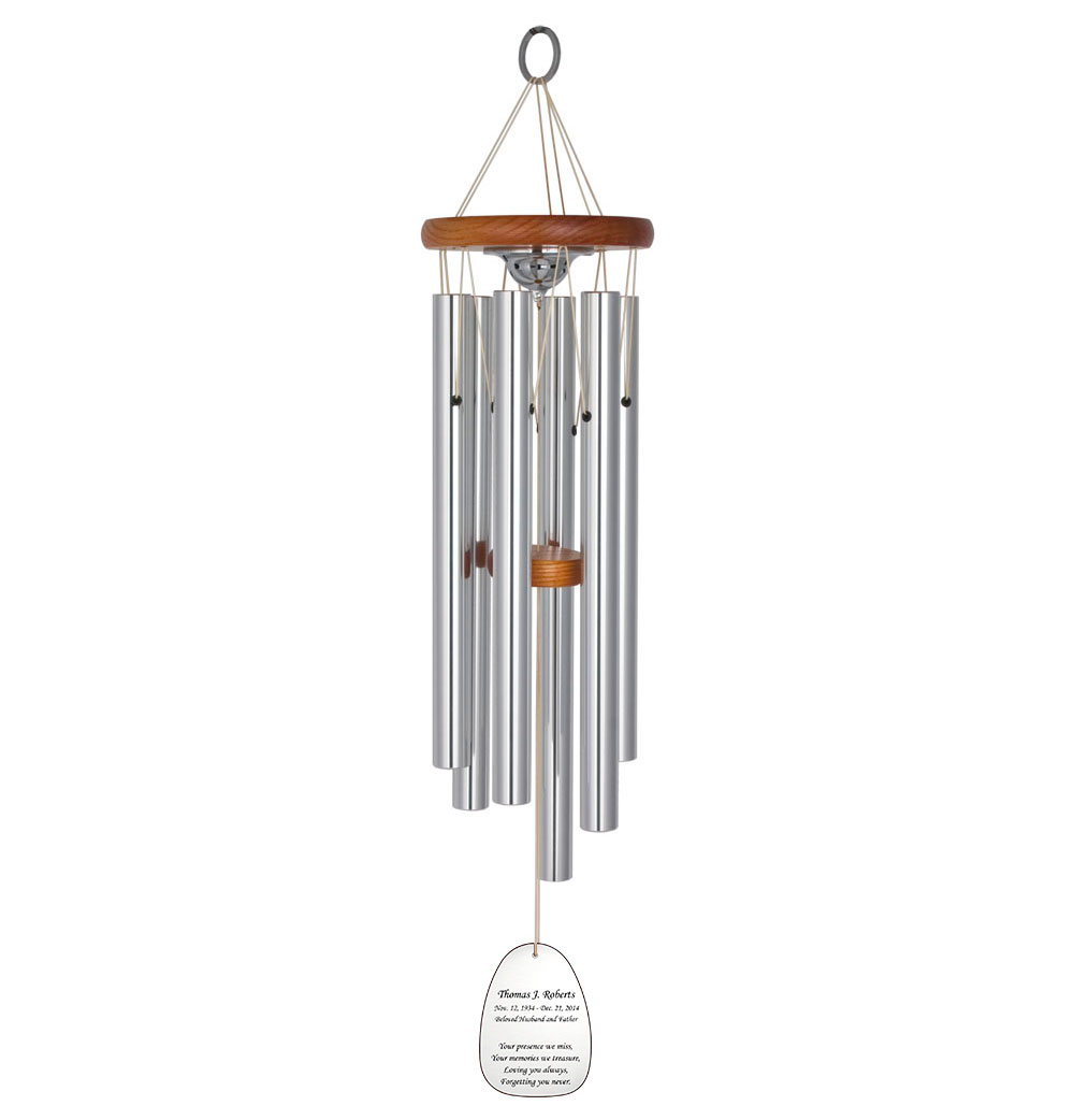 Large Personalized Memorial Wind Chime Laser Etched Cherry Wood Remembrance Gift