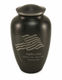American Flag Slate Enameled Metal Cremation Urn - Engravable