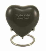 Slate Enameled Metal Keepsake Heart Cremation Urn - Engravable