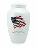 American Flag White Enameled Metal Cremation Urn - Engravable