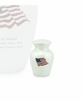 American Flag White Enameled Metal Keepsake Cremation Urn - Engravable