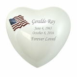 American Flag White Enameled Metal Keepsake Heart Cremation Urn - Engravable