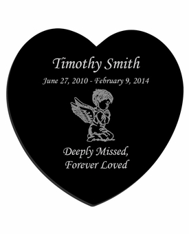 Angel Boy Laser-Engraved Infant-Child Heart Plaque Black Granite Memorial