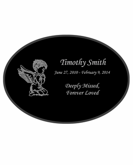 Angel Boy Laser-Engraved Infant-Child Oval Plaque Black Granite Memorial