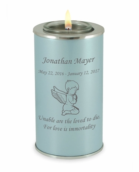 Angel Boy Pearl Blue Tealight Memory Keepsake Candle Infant or Child Cremation Urn