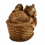 Angel Cat in Basket Cold Cast Bronze Finish Cremation Urn