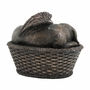 Angel Dog in Basket Cold Cast Bronze Finish Cremation Urn