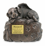 Angel Dog Perched on Paw Print Rock Cold Cast Bronze Finish Cremation Urn