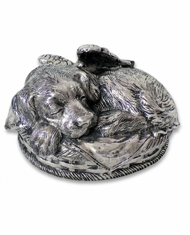 Angel Dog Silver Pet Cremation Urn