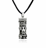 Angel Dog with Dog Bone and Paw Prints Stainless Steel Pet Cremation Jewelry Pendant Necklace