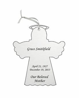 Angel Double-Sided Memorial Ornament - Engraved - Silver