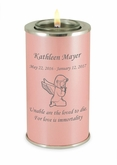 Angel Girl Pearl Pink Tealight Memory Keepsake Candle Infant or Child Cremation Urn