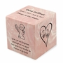 Angel Girl Pink Small Cube Infant Cremation Urn - Engravable