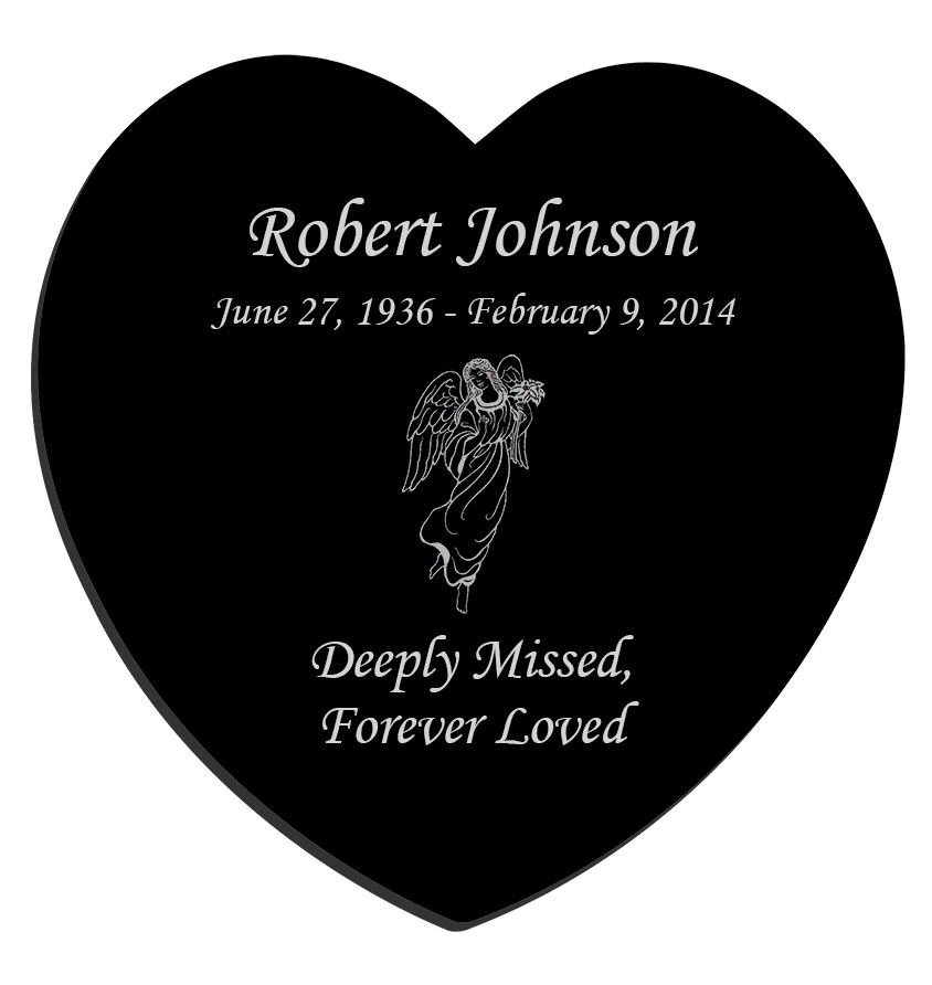 Glyph Etched Heart With Field Inside Small Tattoo: Angel Laser-Engraved Heart Plaque Black Granite Memorial