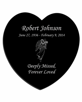 Angel Laser-Engraved Heart Plaque Black Granite Memorial
