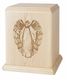Angel Maple Wood Newport Laser Carved Cremation Urn