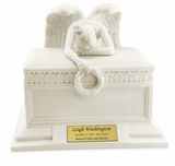 Angel of Bereavement Cold Cast White Alabaster Cremation Urn