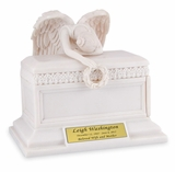 Angel of Bereavement Cold Cast White Alabaster Keepsake Cremation Urn