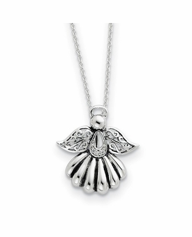 Angel of Remembrance Antiqued Sterling Silver CZ Memorial Jewelry Pendant