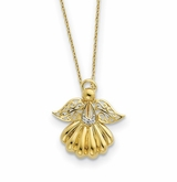 Angel of Remembrance Gold-Plated Sterling Silver CZ Memorial Jewelry Pendant