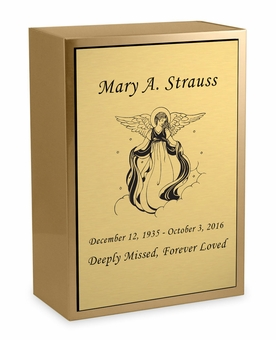 Angel Sheet Bronze Inset Snap-Top Niche Cremation Urn with Engraved Plate