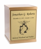 Angel Sheet Bronze Overlap Top Cremation Urn with Engraved Plate