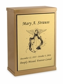Angel Sheet Bronze Overlap Top Niche Cremation Urn with Engraved Plate