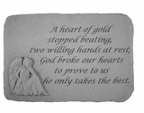 Angel Stone - A Heart Of Gold - Memorial Garden Stone