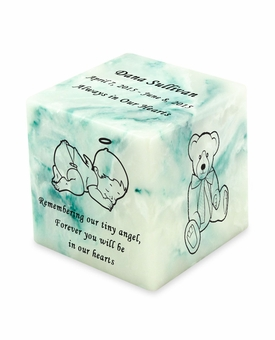 Angel Teal Small Cube Infant Cremation Urn - Engravable