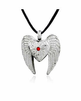 Angel Winged Heart Stainless Steel Cremation Jewelry Pendant Necklace