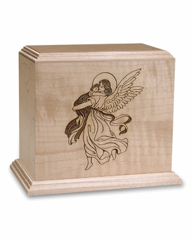 Angel With Child - Wood Infant Cremation Urn - Engravable