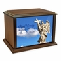 Angel with Cross Eternal Reflections Wood Cremation Urn - 4 Sizes