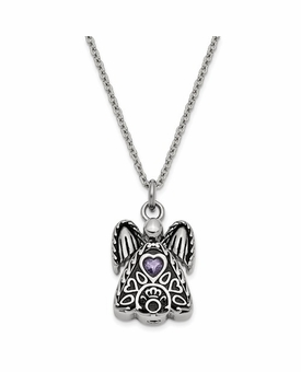 Angel with February CZ Birthstone Stainless Steel Cremation Jewelry Pendant