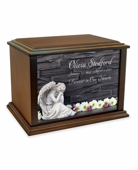 Angel with Flowers Eternal Reflections Wood Cremation Urn - 4 Sizes