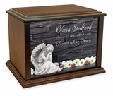 Angel with Flowers Eternal Reflections Wood Cremation Urn - 3 Sizes