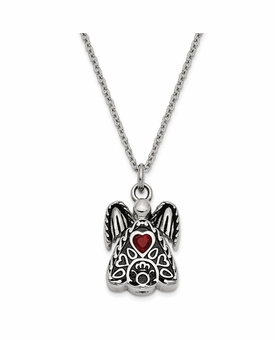 Angel with January CZ Birthstone Stainless Steel Cremation Jewelry Pendant