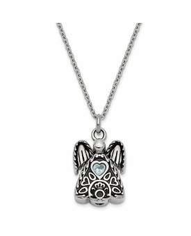 Angel with March CZ Birthstone Stainless Steel Cremation Jewelry Pendant