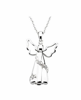 Angel With Sash Sterling Silver Cremation Jewelry Necklace