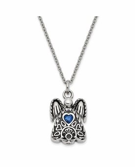 Angel with September CZ Birthstone Stainless Steel Cremation Jewelry Pendant