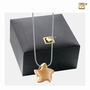 Angelic Star Two Tone Gold Vermeil Cremation Jewelry Pendant Necklace