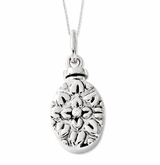 Antiqued Flower Sterling Silver CZ Cremation Jewelry Necklace