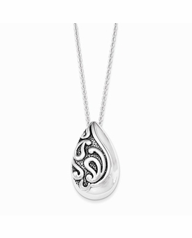 Antiqued Teardrop Sterling Silver Memorial Jewelry Necklace